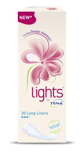 salvaslip lungo lights by tena long 20 pezzi